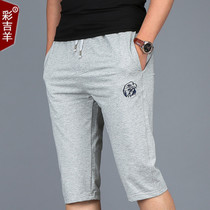 Thin summer shorts mens casual pants elastic lace cropped trousers running loose in close knit guard Pant