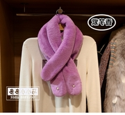 Korean students winter fur scarf lady rabbit hair scarf plush plush Faux Fur Collar warm shawl