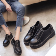 2017 female students in the spring and autumn shoes new Korean all-match Harajuku school shoes retro round bottom Thick Wind tide