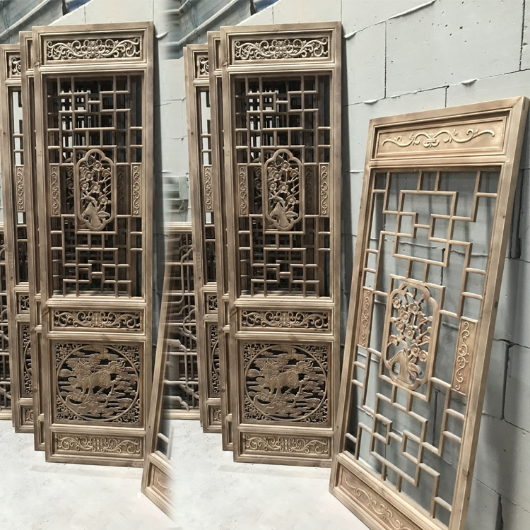 Dongyang wood carving antique doors and windows Chinese solid wood lattice background partition partition solid wood door Carved door lattice door