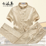 Chinese costume male short sleeved suit in summer wind elderly father half sleeve lay clothes clothing men's Retro Zen grandpa