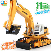 Wireless remote control toy charging dynamic alloy excavator digging bulldozing hook machine engineering package mail car nano super