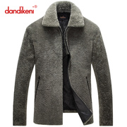 Haining middle-aged short fur leather collar wool cashmere Jacket Mens simple fur coat