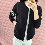 Korean baseball uniform color cotton cardigan sweater female female clip zipper jacket spring and loose tide Sports Students