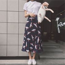L t retro chic style skirts long slim skirt elastic waist jet printing a word long pleated skirt