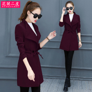 The two new autumn and winter 2016 slim slim lace pure woolen coat dress coat Korean tide