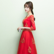 2017 new winter clothing bride toast red Chinese dress China married female clothes long sleeved wind back.
