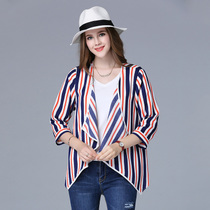 (Sales) take modified fat mm 49 European seven-sleeve striped chiffon jacket and loose small shirt