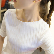 Short sleeved short sleeve shirt female head sleeve five thin sweater sleeve T-shirt tight half sleeve silk knit in summer