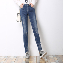 Spring tight waist-deep blue Miss Korean jeans trousers stretch pencil pants woman with bound feet wave students