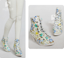 Multi-color 3-4 BJD shoes SUN60 more than three floral print short boots black blue flowers red SD doll swdoll