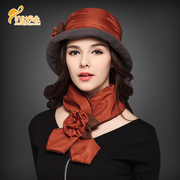 Base Yin plus velvet snow warm cotton padded hat scarf two piece ladies fashion hat scarf winter Basin