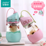 Brilish glass transparent portable Creative Cup cute Korean couple of male and female students with cup cup