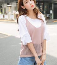 JS official website of genuine Korean purchase plus size ladies 0511 summer loose knit sweater vest 826977