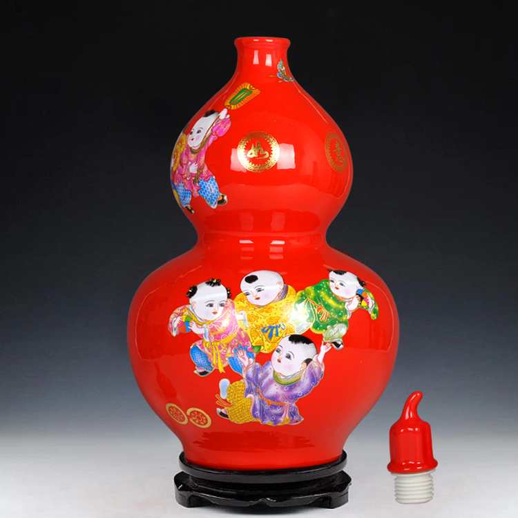 Special offer Jingdezhen ceramics Boys new year gourd vase Modern home living room decorations ornaments
