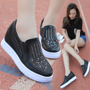 Lok Fu shoes 2017 spring new shoes sports shoes in the Korean version of diamond mesh women pedal slip-on
