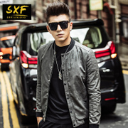 SXF men's motorcycle leather suit type men's coat PU Leather Men's baseball collar Camo leather jacket