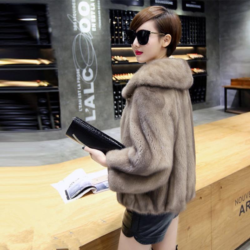 Hainings new imported mink fur fur whole fur fur coat female mother short coat plus code Korean version