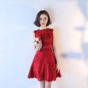 The bride toast served 2017 new summer short Korean red wedding dress back slim slim dress