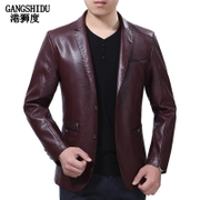 The spring and autumn clothing male thin Korean handsome suit collar leisure jacket PU youth slim trend of men's jacket