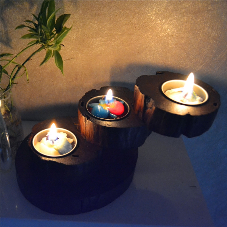 Southeast Asian style Thai solid wood candlestick European candlestick flower set creative romantic candle dinner table ancient