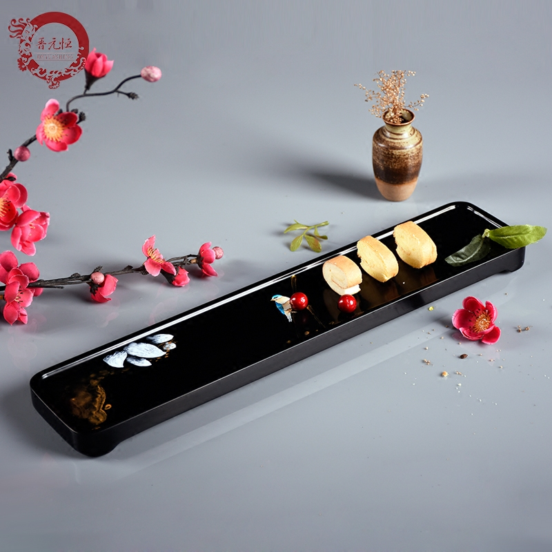 Jinyuan Heng lacquer craft small tray bread pastry plate craft food pendulum sushi plate Japanese cooking tableware