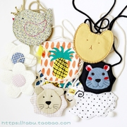 2 packages of Korean children, boys and girls, small bags, cute animals, cartoon shape, oblique cross package, small change