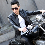 2017 young men and women in the spring and autumn of the old leather leather train slim handsome leather jacket jacket trend