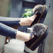 The fox really Maomao shoes female winter 2017 new Korean cashmere Doug shoes plus thick soled shoes shoes scoop lazy Muffin