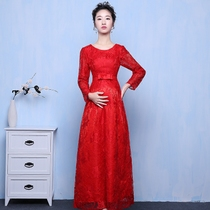 pregnant women toast service 2016 new autumn and winter bride wedding red long waist long-sleeved wedding evening dress large code