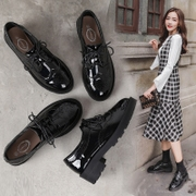 2017 new black leather shoes female autumn shoes all-match British style women shoes retro shoes female students.