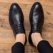 Black leather shoes, men's business suits in leather shoes the trend of Korean leisure shoes.