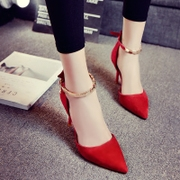 In the spring of 2017 shallow mouth red high heels with a fine sexy single word for shoe buckle straps shoes wedding shoes tide