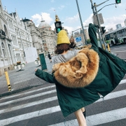 COCO hand chop large recommended fur collar detachable liner wolf hair in the long pike fur coat coat girl