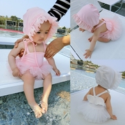Chen mother newborn baby girl summer clothes swimsuit Siamese swimsuit princess skirt gauze sling send hat