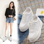 Platform shoes female summer 2017 new Korean leather casual shoes all-match increased hollow white shoe shoes