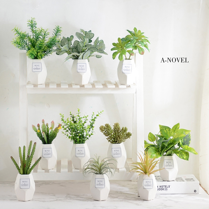 Potted green plant ornament with simulated herb plant decoration Ins artificial flower potted landscape living room multi-flesh household interior decoration