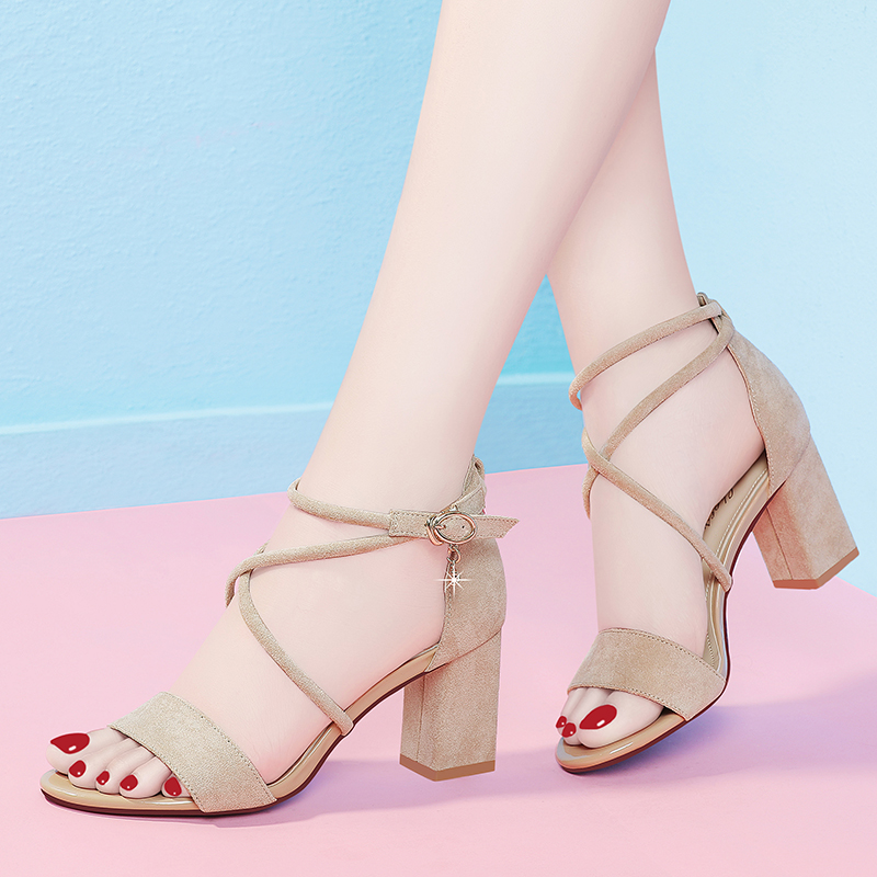 High heeled shoes women's shoes 2020 new summer Korean version versatile thick heel fish mouth cool
