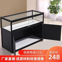 Supermarket convenience store display counter shelves for small commercial tempered glass exhibition